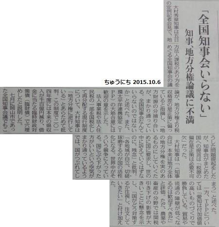 全国知事会いらん - ちゅうにち 2015.10.6