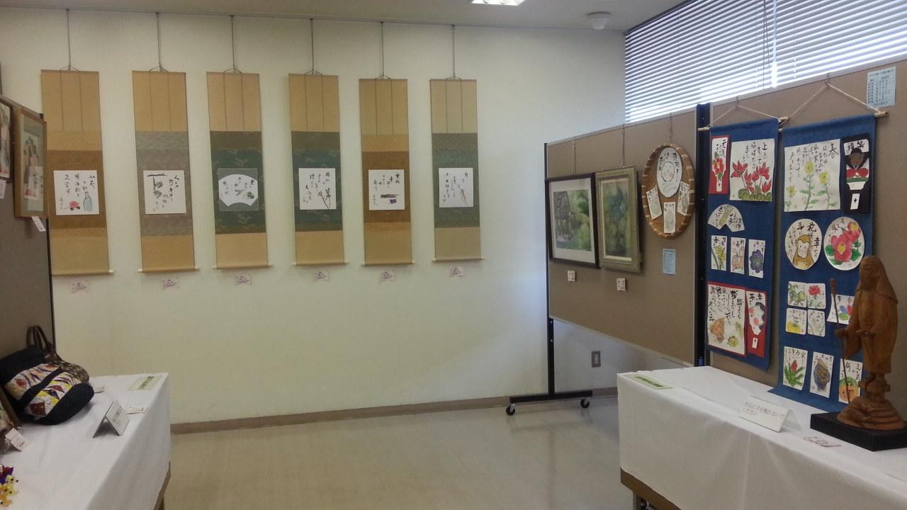 安祥公民館まつり (7) 古井公民館茂久瓔会俳画、え、えてがみ、彫刻