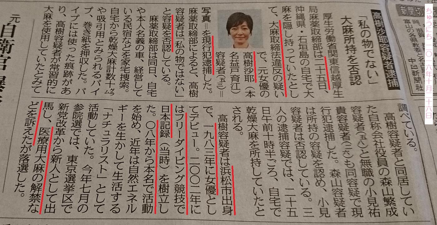 高樹沙耶さんたいほ - ちゅうにち 2016.10.26