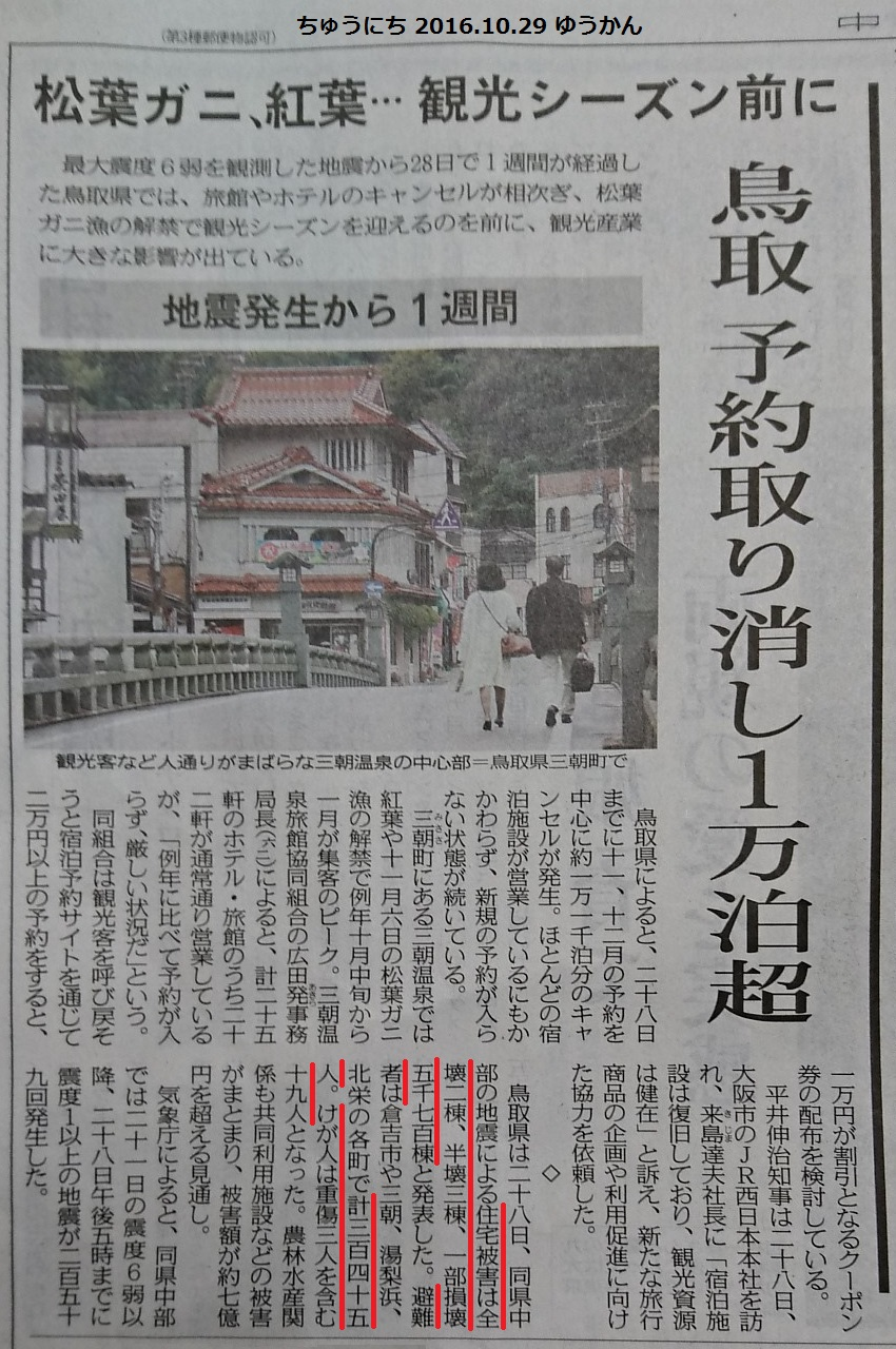 鳥取宿泊予約とりけし1万泊以上 - ちゅうにち 2016.10.29 ゆうかん