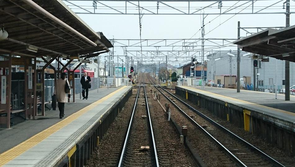 2018.2.21 東岡崎 (6) 東岡崎いきふつう - 矢作橋 950-540
