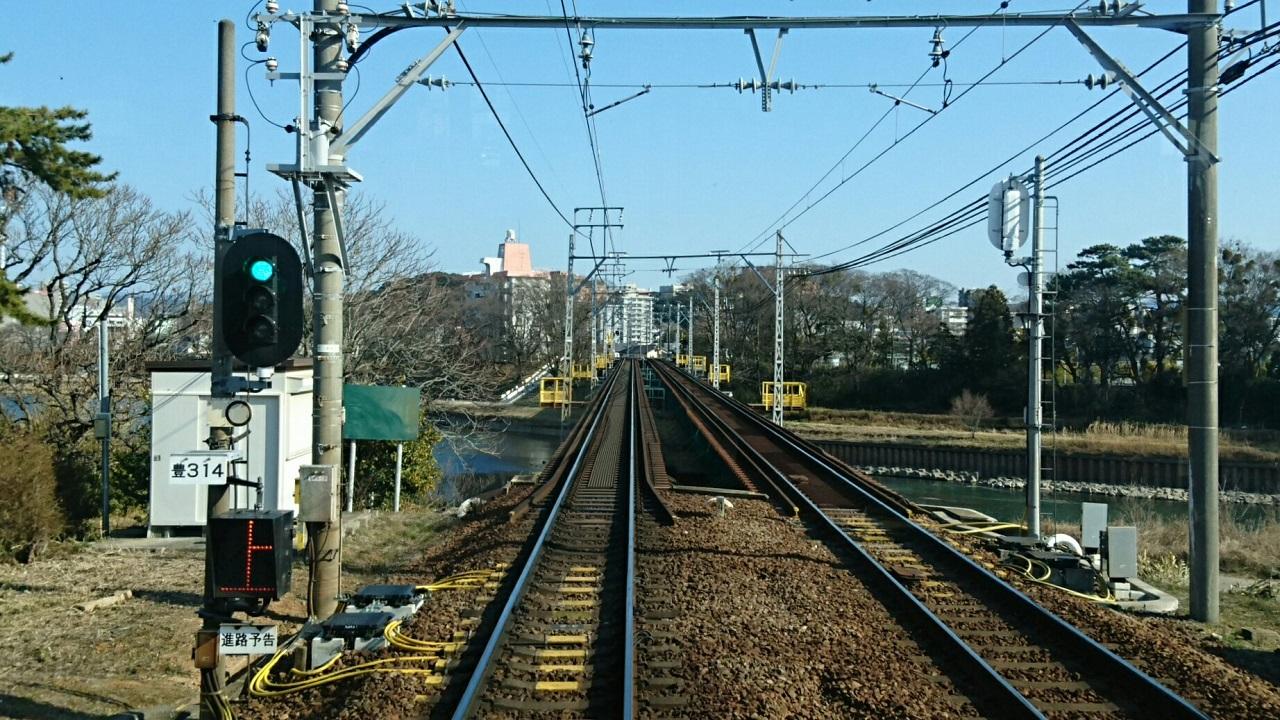 2018.2.23 東岡崎 (9) 東岡崎いきふつう - 菅生川をわたる 1280-720