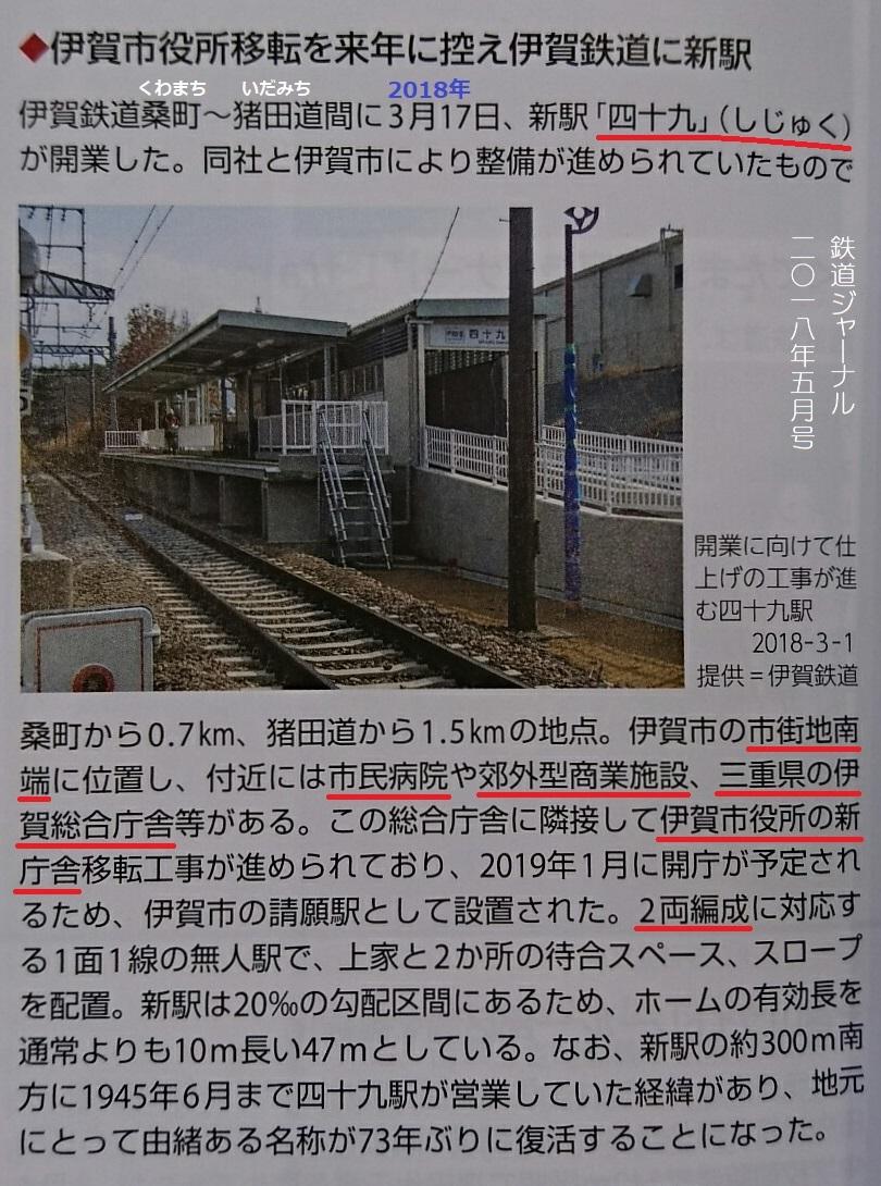 伊賀市役所移転を来年にひかえ伊賀鉄道に新駅(鉄道ジャーナル2018年5月号) 810-1090