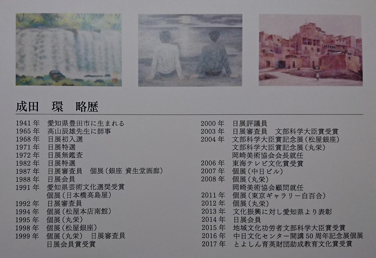 成田環回顧展 (4) 画伯略歴 1280-880