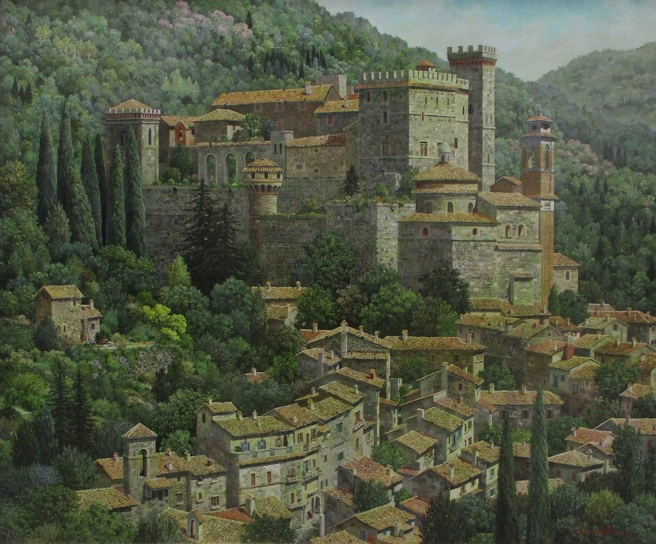 日展 (9) 佐藤祐治さん『山麓の村』 1285-1065