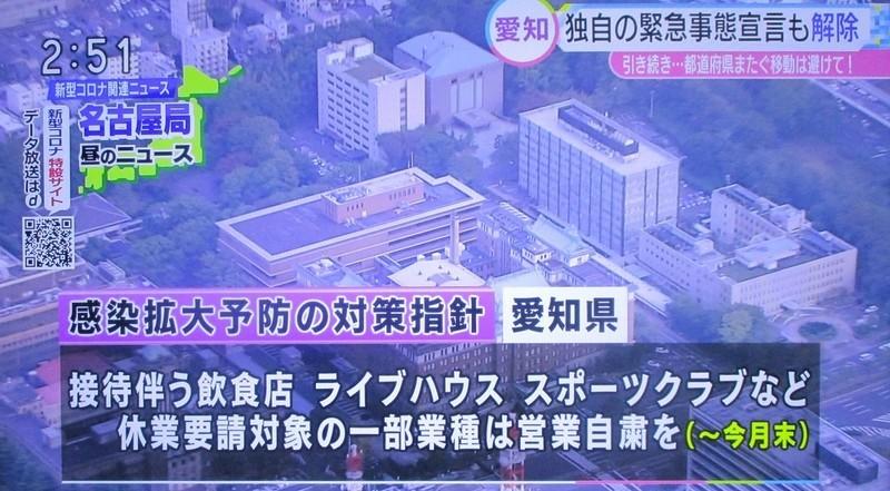 2020.5.26 (11) NHK - 愛知県の緊急事態宣言解除 1380-760