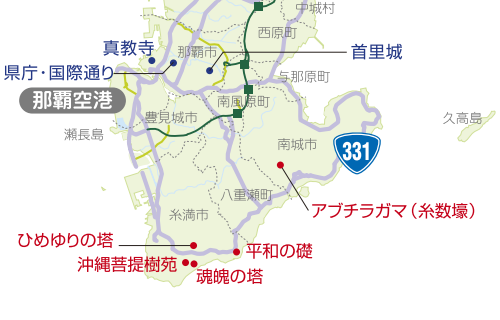 「魂魄の塔」位置図(東本願寺沖縄別院) 500-320
