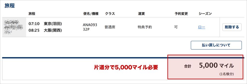 東京から大阪まで片道5,000マイル