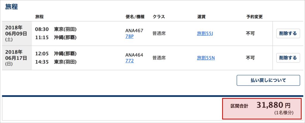 東京と沖縄往復の旅割運賃の価格