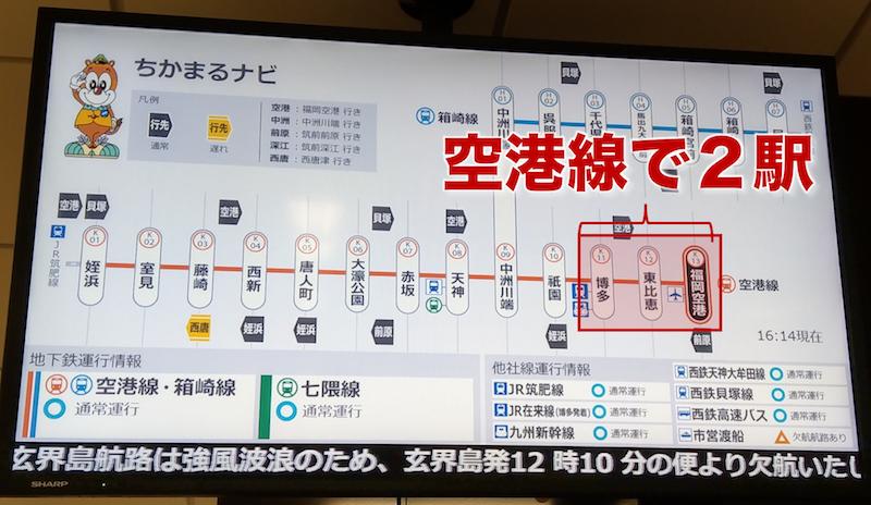 空港線で博多駅までは2駅