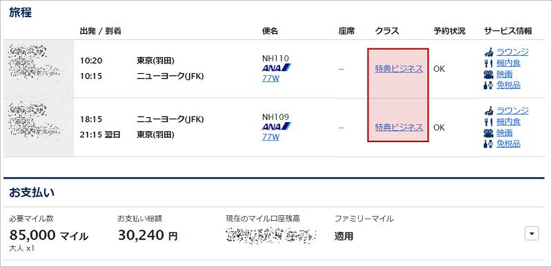 ANAマイルで取得する東京~ニューヨーク間の特典航空券