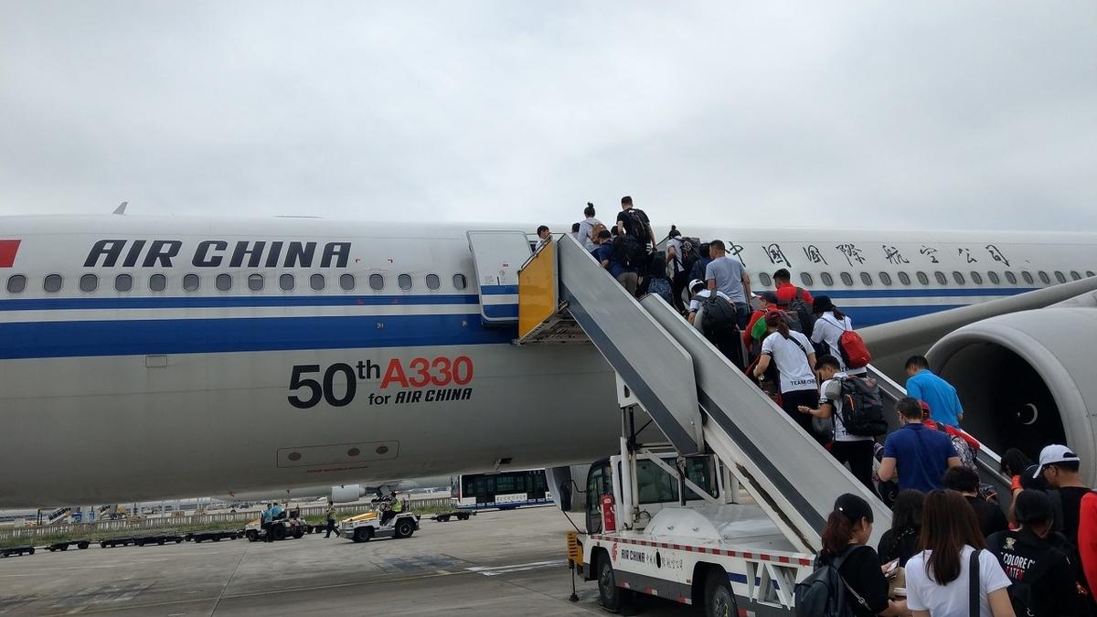 沖止めされている中国国際航空のローマ行き便