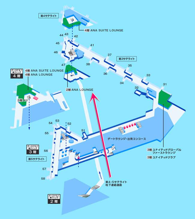 成田空港サテライト間の案内図
