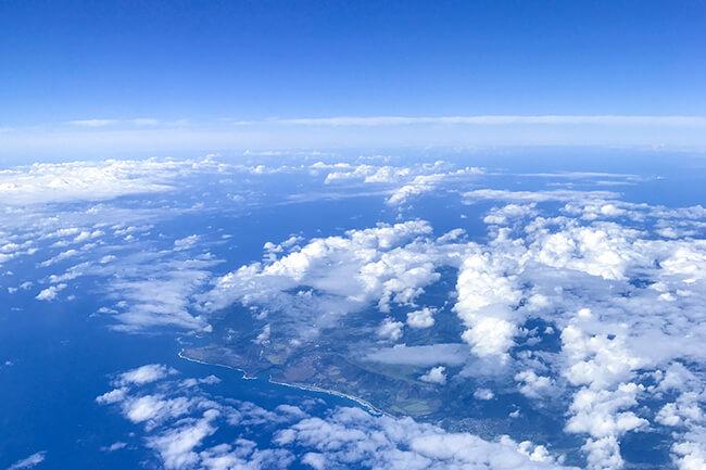 ホノルル到着前の空