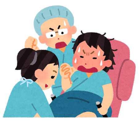 大変な出産の様子