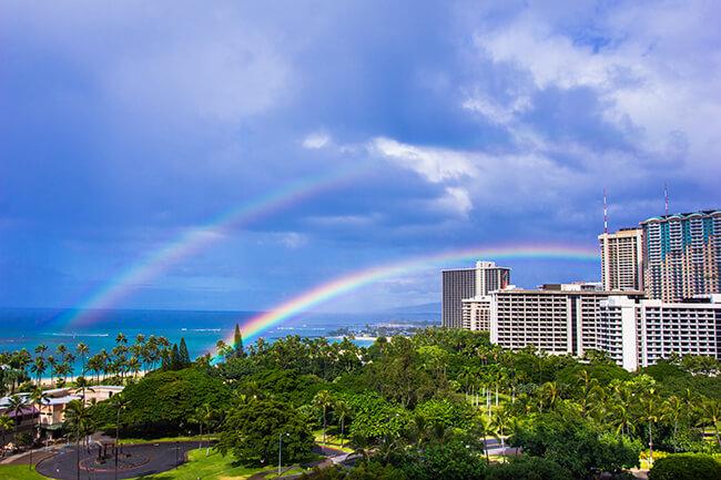 ハワイのダブルレインボー