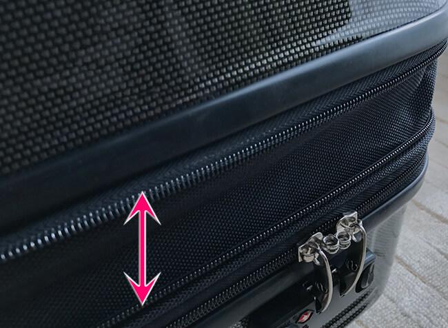 サクセス・スーツケースは容量が増やせる