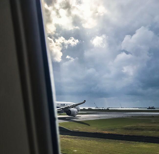 離陸待機中に見たb787