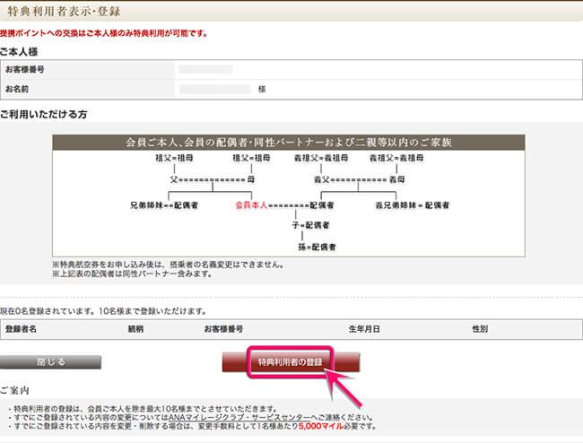 特典利用者の登録画面へ移動