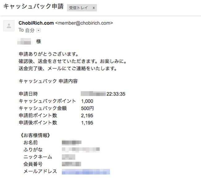 キャッシュバック申請完了メール