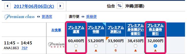 2か月後の仙台-那覇・プレミアムクラスの片道料金