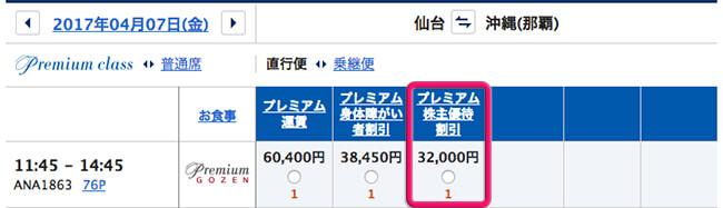 明日の仙台-那覇・プレミアムクラスの片道料金