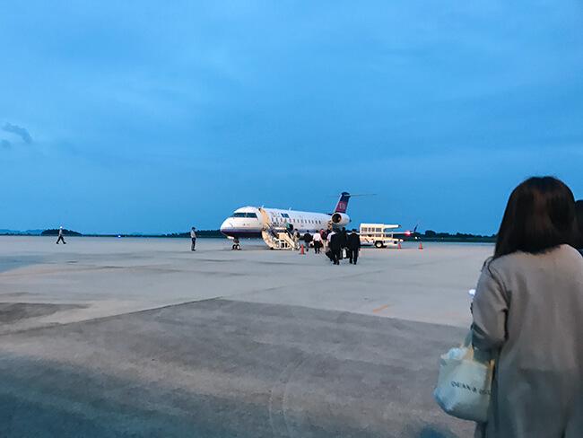 広島空港での沖止め機搭乗