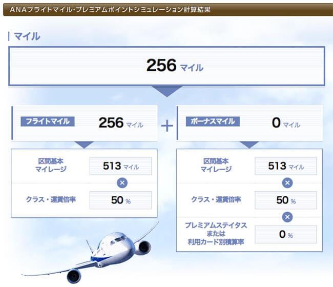 仙台-広島のanaフライトマイルシミュレーション結果