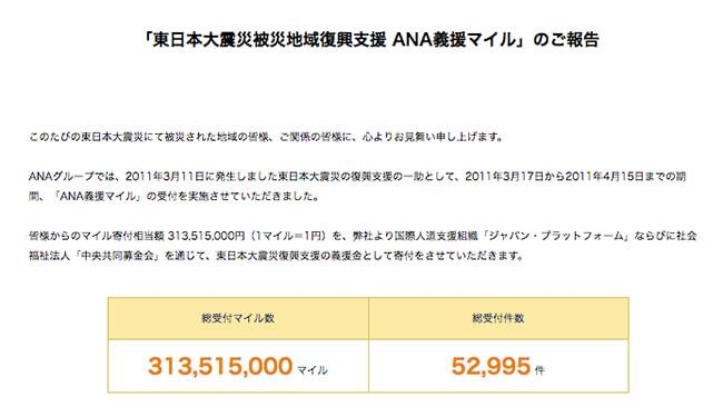 東日本大震災では3.1億anaマイル