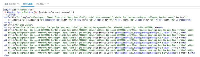 html編集画面でスタイル設定を変更
