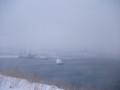 [江差] 雪にけぶる江差市街@砲台跡付近
