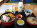 [利尻富士町][食堂][丼] 食堂さとう 海鮮丼(ムラサキウニ、バフンウニ、ソイ、ホタテ、イクラ