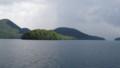 [洞爺湖] 陽光に照らされる弁天島