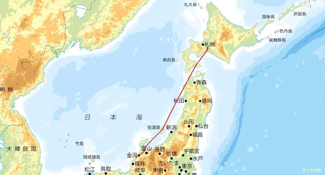 新千歳-小松 航行ルート