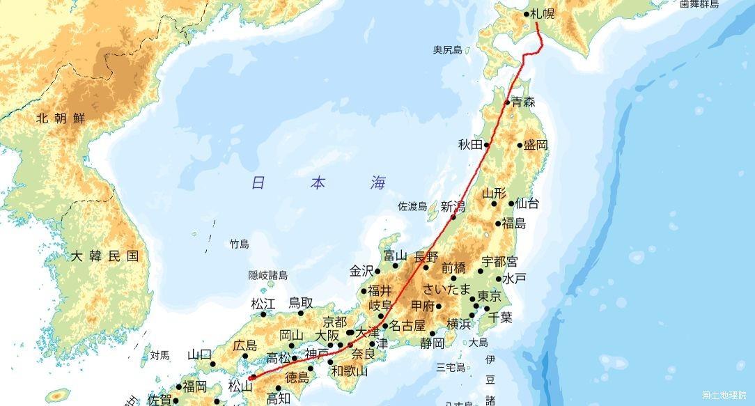 松山→新千歳 航行ルート