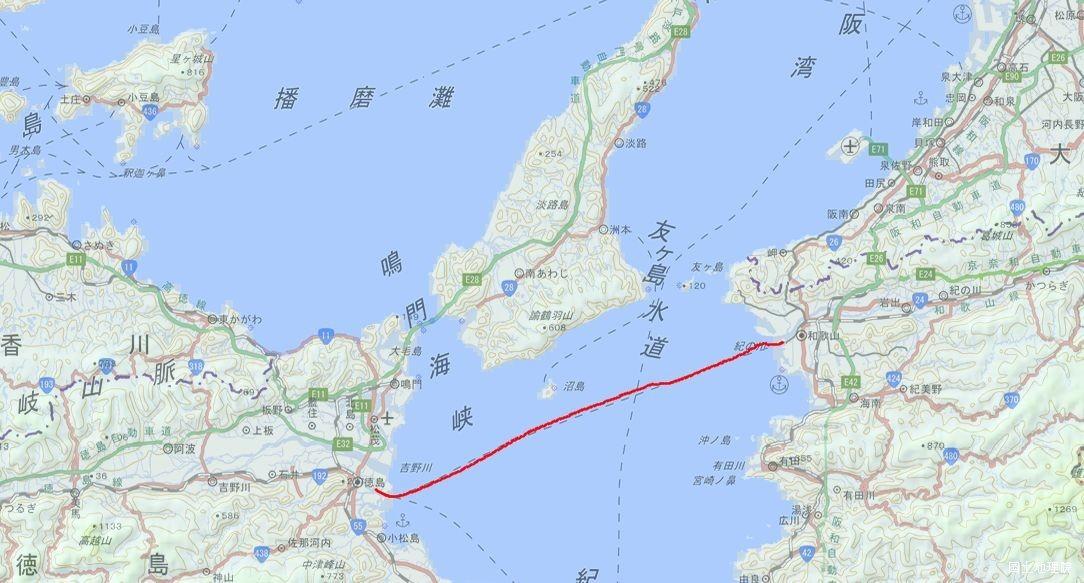 和歌山→徳島 航行ルート