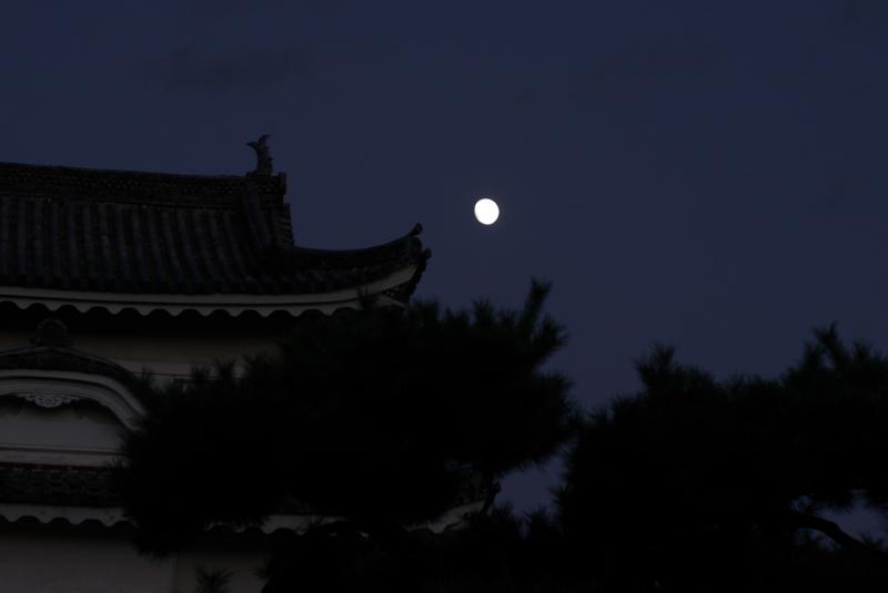 京都新聞写真コンテスト 二条城に昇る栗名月
