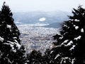 雪の京都盆地亜