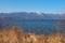 琵琶湖から望む雪の比良山系