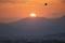 京都盆地に沈む夕日@東大谷墓地