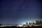 京都市街上空に浮かぶ冬の大三角とカノープス@花脊峠