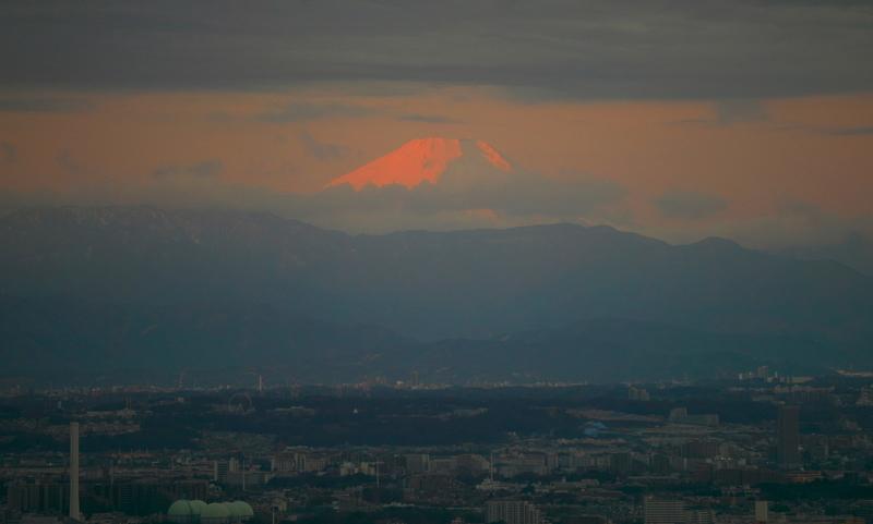 初日に染まる富士@新宿都庁展望台