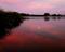夕焼けの月の出@広沢池