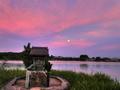 広沢池弁天堂の月の出