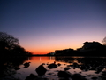 水面に映る夕焼け@高野川