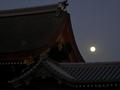 京都御所に昇る小望月