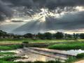 雲間からの日射し@賀茂川