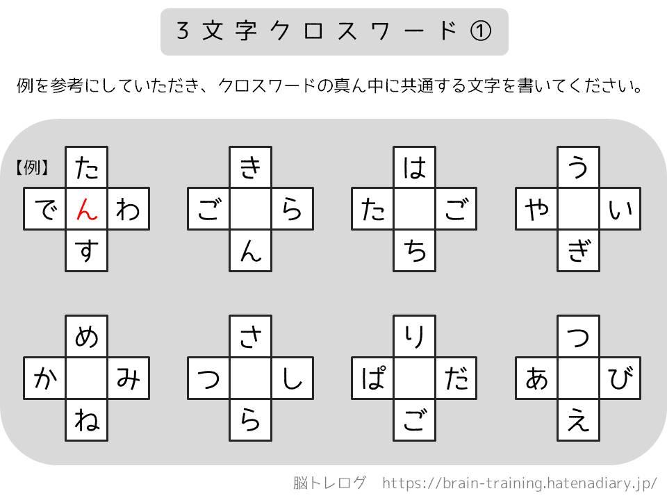 3文字クロスワード① 脳トレログ