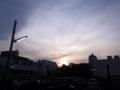渋谷区神宮前4丁目、春の夕暮れ時間の空