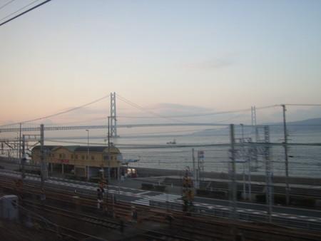 車窓から見えた明石海峡大橋1
